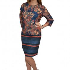 Rochie Adeline de zi cu imprimeu floral stil mozaic,nuanta bleumarin, 42, 44, 46, 48