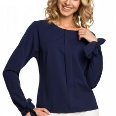 Bluza bleumarin, eleganta, cu mansete sic, 2XL, L, M, S, XL