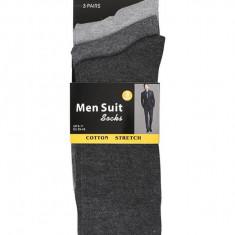 Set 3 perechi sosete pentru costum barbati Men Suit Socks, gri/gri deschis, marimea 39-45