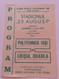 Program meci fotbal POLITEHNICA IASI - CRISUL ORADEA (04.06.1972)