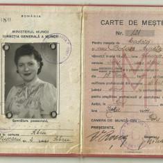 Carte de Mester : Aurelia Balazs, modista, Sibiu, 1944