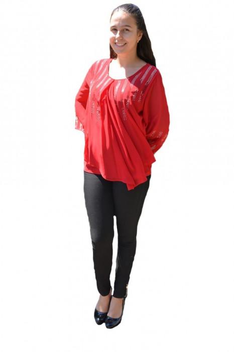 Bluza eleganta asimetrica,model cu strasuri,nuanta de rosu