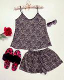 Cumpara ieftin Pijama dama ieftina primavara-vara neagra din satin lucios cu imprimeu animal print mic