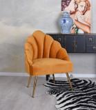 Fotoliu franzuzesc din lemn masiv cu tapiterie portocalie  SKR007
