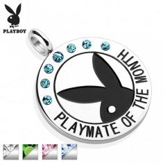 Pandantiv oțel rotund, de culoare argintie, iepuraș Playboy negru, zirconii, inscripție - Culoare: Transparent