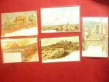 Set 5 Ilustrate Litografii Italia semnate HB Wieland cca. 1900, Necirculata, Printata