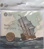 2 pounds 2020 Marea Britanie, Mayflower 400th Anniv, Royal Mint sealed pack, unc, Europa