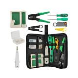 Tester profesional de retea lan, utp ftp, cleste de sertizare, dispozitiv push-in, mufe, husa depozitare, set 10 piese