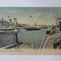 Carte postala Galati-Vedere din port,necirculata cca 1905
