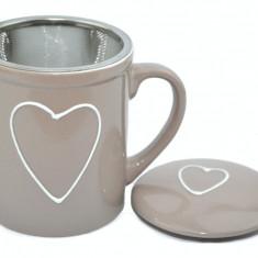 Cana ceramica cu infuzor si capac (Bej) 250ml