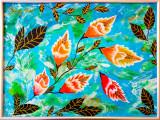 Tablou pictura flori, Acrilic, Abstract