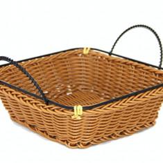 Cos paine, fructe, legume patrat servire cu manere rezistent la apa, 18 x 18 cm culoare cafea, 01981393