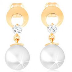 Cercei din aur 585 - cerc cu decupaje și diamante transparente, atârnați, cu perle