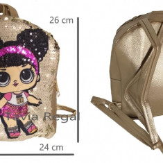 Ghiozdan tip LOL pentru fete, cu paiete auriu 26 cm x 24 cm, Fata, Altele