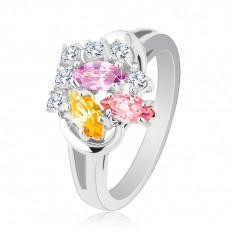 Inel strălucitor, boabe zirconiu colorat şi zirconii rotunde transparente, braţe lucioase - Marime inel: 51