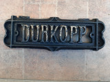 Placa sigla emblema veche fontă Durkopp masina de cusut