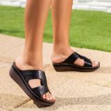 Papuci Aleron negri cu platforma