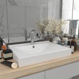 VidaXL Chiuvetă baie lux, orificiu robinet, alb mat 60x46 cm ceramică