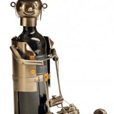 Suport Sticla de Vin model Gradinar cu Masina de Tuns iarba metal lucios H 21cm
