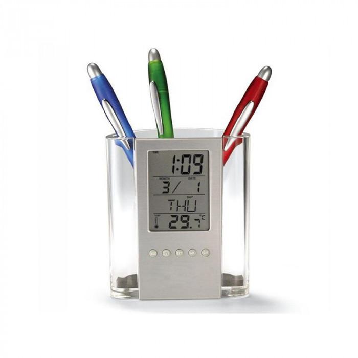 Ceas si termometru cu suport pentru pixuri