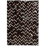 Covor piele naturală, mozaic, 120x170 cm zig-zag Negru/alb