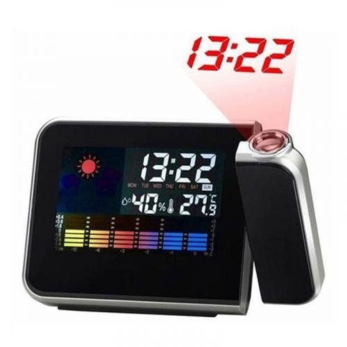 Ceas cu proiectiecu afisaj LCD pentru ora, data, umiditate si temperatura