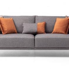 Canapea fixa tapitata cu stofa, 3 locuri Luna Gri, l225xA98xH80 cm