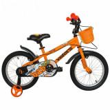 Cumpara ieftin Bicicleta Copii VELORS V1801A, Roti 18inch, cosulet, roti ajutatoare (Portocaliu)