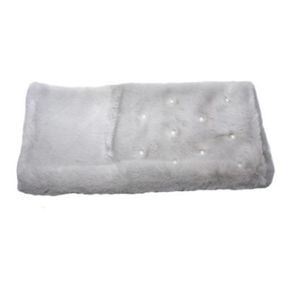 Sal din blanita cu aplicatii de perle,model dreptunghiular,nuanta de gri foto