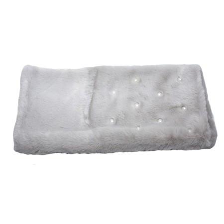 Sal din blanita cu aplicatii de perle,model dreptunghiular,nuanta de gri