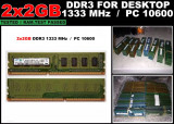 Kit Memorie RAM DDR3 Calculator 2x2GB (4GB) PC3-10600 1333MHz non-ECC CL9
