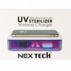 Dispozitiv Cutie cu Lampa Bactericida Virucida UVC NEX si Incarcator Wireless 15W Alb Dezinfecteaza eficient Bijuterii Telefonul Masca Ceasul Bancnote