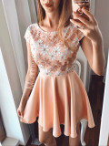 Cumpara ieftin Rochie de ocazie scurta roz pastel cu corset brodat cu flori