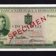 ROMANIA -  500 lei - 1934 SPECIMEN . APROAPE NECIRCULATA / UNC
