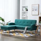 VidaXL Canapea în formă de L, verde, 186x136x79 cm, tapițerie textilă