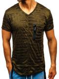 Tricou fără imprimeu bărbați verde Bolf 313