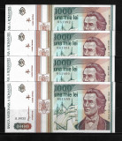 LOT 4 BANCNOTE 1000 1 000 LEI 1993,  NECIRCULATE, SERII CONSECUTIVE