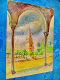 9751-Pictura-La Geralda Seville-ulei pe panza lipita placaj perioada 1920-30.