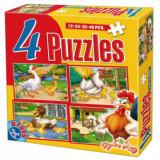 Puzzle 4 in 1 cu Animale Domestice, D-Toys