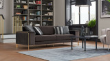 Canapea tapitata cu stofa, 3 locuri, cu functie sleep pentru 1 persoana Adel Maro inchis, l230xA97xH80 cm
