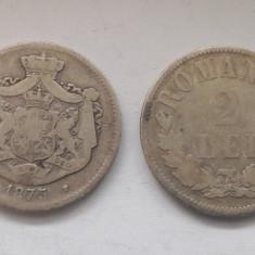 Lot doua monede argint Romania 2 Lei 1875 Carol I !