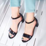 Sandale dama negre cu toc Seleria
