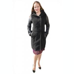 Palton negru si lung, maneci din piele ecologica matlasata