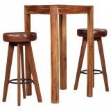 Set mobilier bar, 3 piese, lemn masiv sheesham, piele naturală, vidaXL