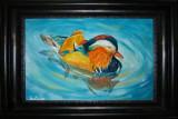 Acuarela mascul rata Mandarin (tablouri tablou picturi pictura decor), Pasari, Realism