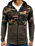 Bluză cu glugă pentru bărbat verde Bolf 9109