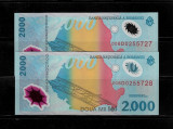 LOT 2 BANCNOTE 2000 2 000 LEI 1999 ECLIPSA NECIRCULATE, SERII CONSECUTIVE
