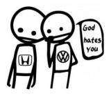Stickere auto God Hates Honda - VW