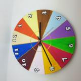 """Ceas de perete pictat """"Roata norocului"""" - handmade - artizanat - cadou deosebit"""
