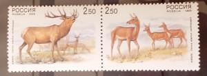 Rusia 1999 fauna, cerbi, caprioare, SERIE 2v. Pereche mnh